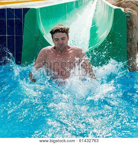 Man having good fun at waterslides