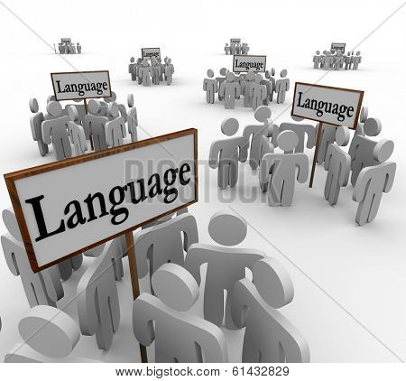 Language Word Signs Diverse Groups People Culture