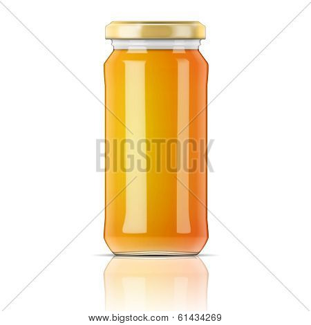 Glass jar with honey.