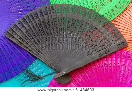Wooden Fan Black