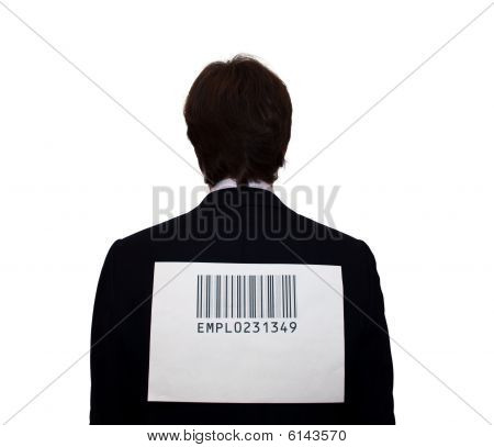 Back of businessman with bar-code, isolated on white