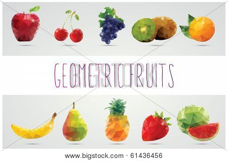 Collection of geometric polygonal fruits, triangles, vector illustration