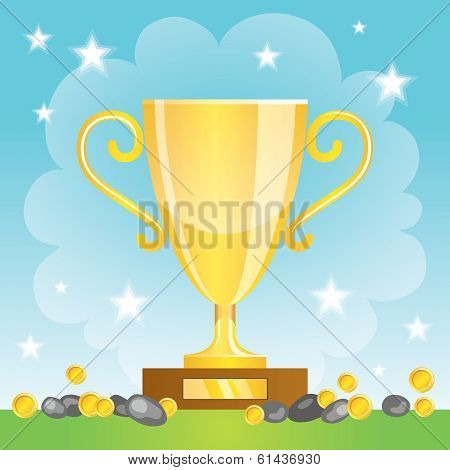 Winner Cup With Coins. Gold Trophy
