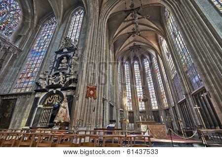 Brussels, Belgium-march 14:  Nave Of Gothic Church Notre Dame Du Sablon On March 14, 2014 In Brussel