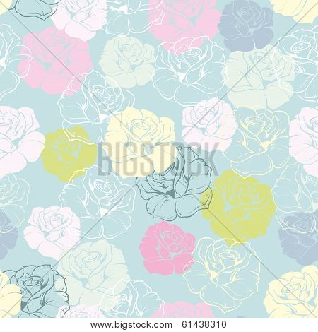 Seamless floral vector pattern with pink, yellow, green and white roses on pastel blue background