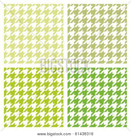 Pastel vector houndstooth spring seamless fresh green and white pattern set