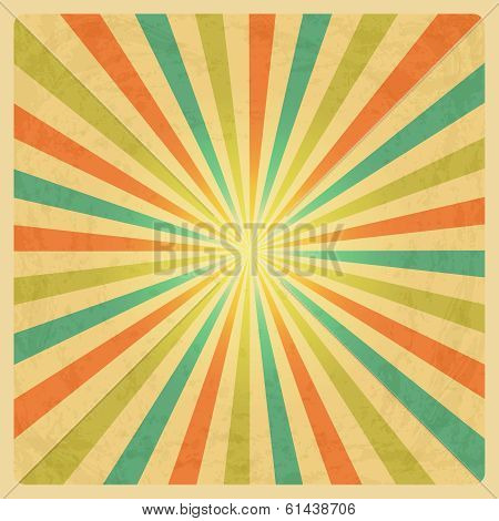 Vector Vintage Sunburst Background with Grunge Texture