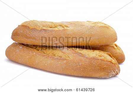 some demi baguettes or bread rolls on a white background