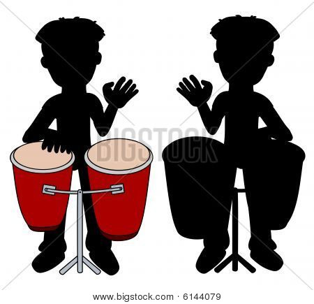 Percussionist playing congas silhouettes