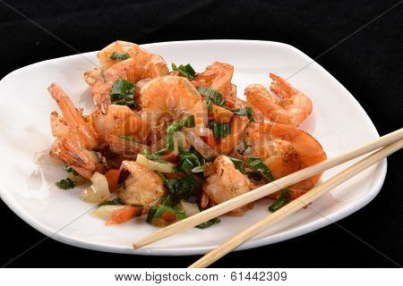 Chinese food,seafood on dish.Grilled shrimp salad.