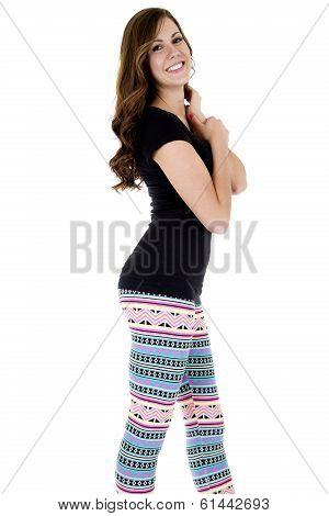 Smiling Female Brunette Model Wearing Tight Leggins And Black Top