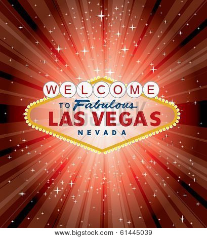 vector Las Vegas sign over the red night star burst