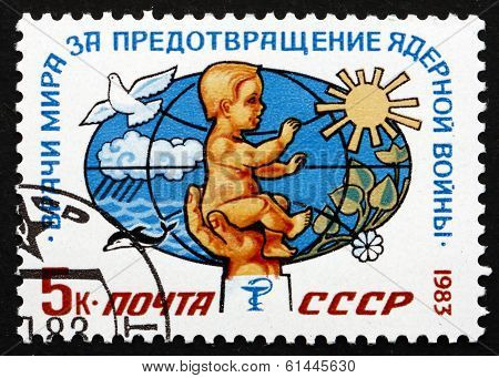 Postage Stamp Russia 1983 Baby, Dove, Sun