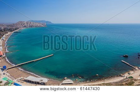 Aerial view on the beach of Sudak