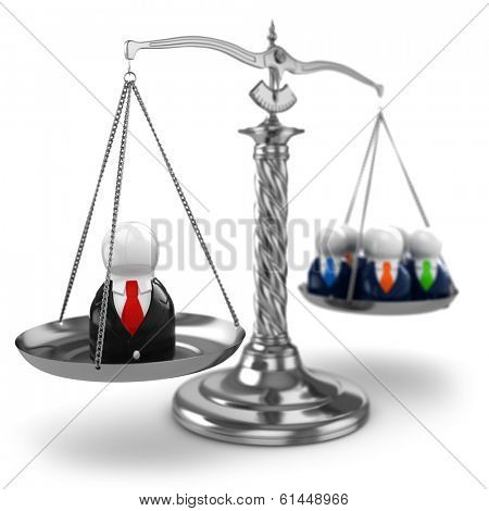 Teamwork. Scales and people on white isolated background. 3d