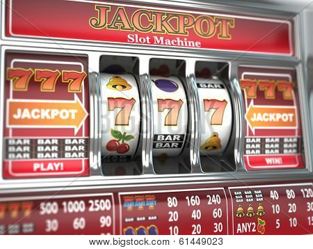 Jackpot on slot machine. Three-dimensional image. 3d