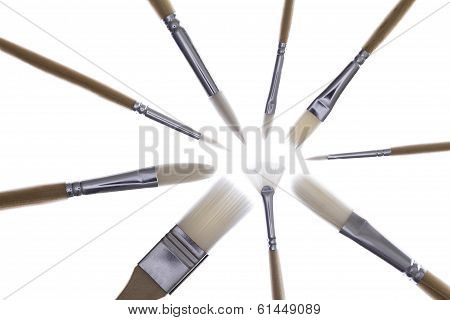 Set Of Paintbrushes In A Radial Pattern