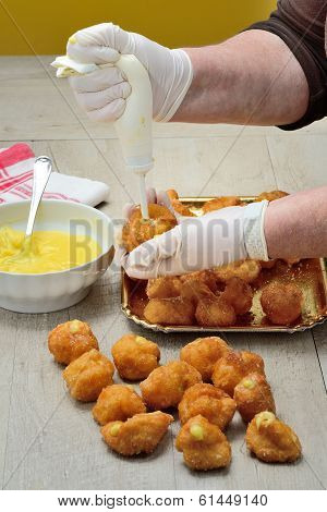 Preparing italian stuffed carnival fritters custard homemade