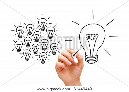 Teamwork Light Bulbs Concept