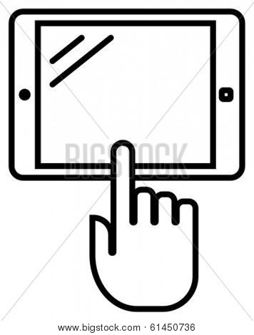 Black vector outline sign of tablet PC with index finger isolated on white background