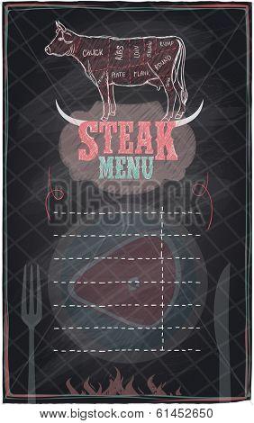 Steak menu chalkboard design with cow steak diagram.Eps10.
