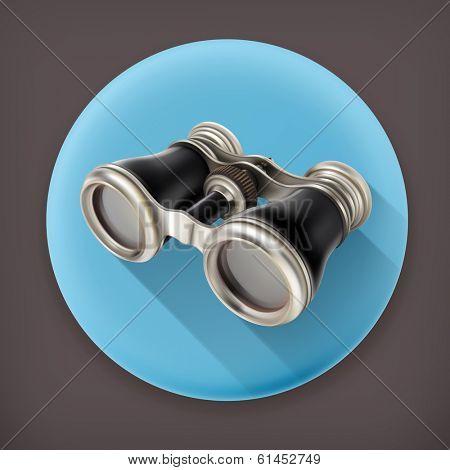 Vintage binoculars, long shadow vector icon
