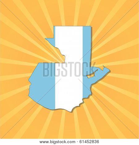 Guatemala map flag on sunburst illustration