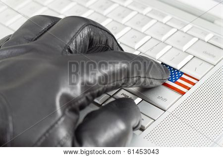Hacking Usa Concept With Hand Wearing Black Leather Glove Pressing Enter Key With Flag Overlaid