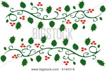 Holly leaves and red berries
