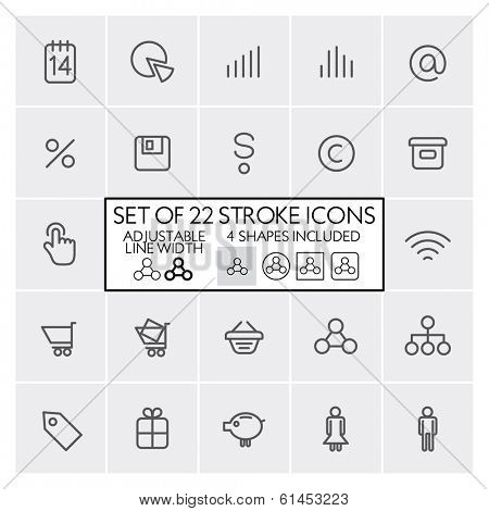 Stroke design icons set 3 / E-shop + business + etc. / Adjustable line width + 4 button shapes included / Check out the other parts of set
