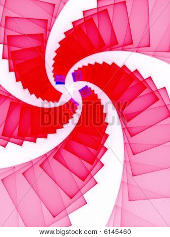 Red & White Spiral Star - Fractal