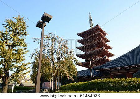 Five-storey Pagoda At Sensoji Temple In Tokyo, Japan