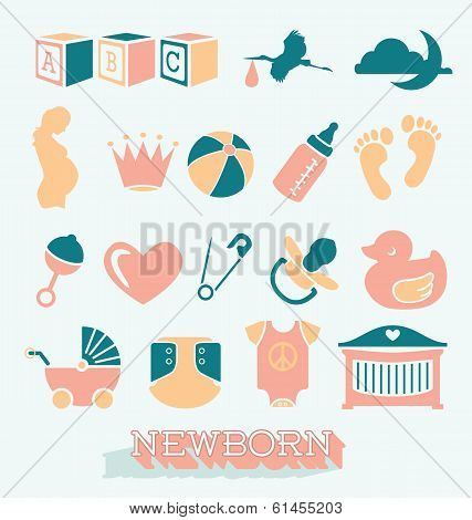 Vector Set: Newborn and Baby Icons and Symbols