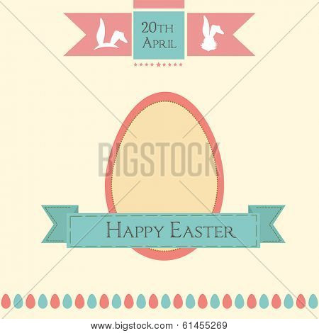Vintage Happy Easter celebration flyer, poster or banner design with easter egg and green ribbon on brown background.