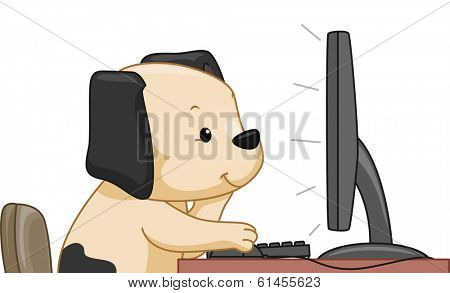 Illustration Featuring a Cute Dog Doing an Online Search