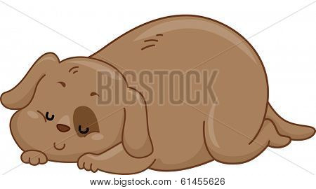 Illustration of an Obese Dog Sleeping Soundly on the Floor