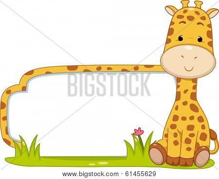 Illustration of a Ready to Print Label Featuring a Cute Giraffe Sitting Beside a Patch of Grass