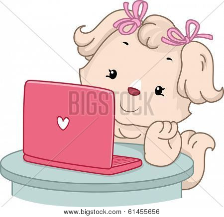 Illustration of a Cute Female Dog Doing an Online Search