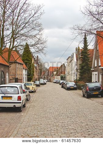 Cars On The Street In The Dutch Town Of Heusden.