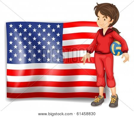 Illustration of a sporty girl and the flag of the USA on a white background