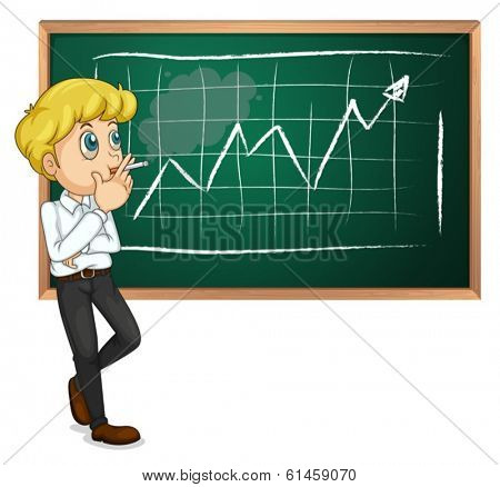 Illustration of a man smoking in front of the blackboard on a white background