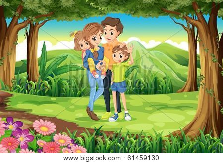Illustration of a family at the jungle