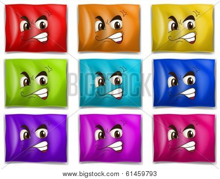 Illustration of the flags with faces on a white background