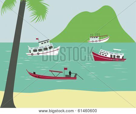 Boats On Tropical Beach. Vector