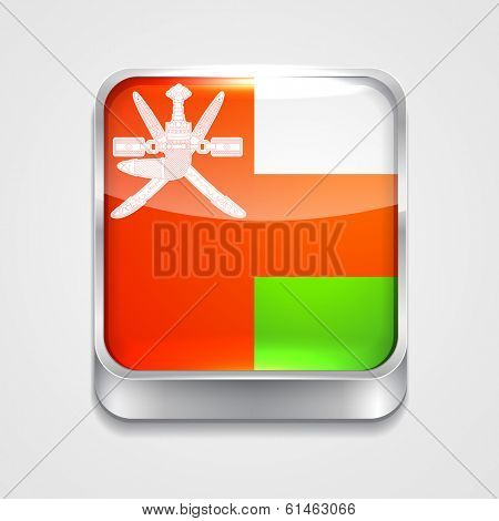 vector 3d style flag icon of Oman