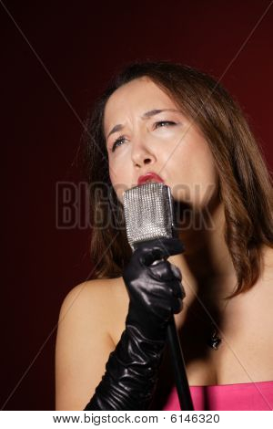Sexy Singer With A Vintage Microphone
