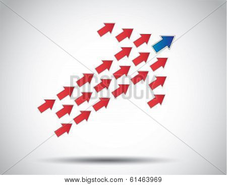Colorful Arrow Of Arrows Moving Up Lead By Blue Arrow Leading