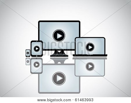 Video Movie Play Icon On Computer Laptop Tablet And Smart Phone