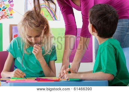 Kids Drawing In Kindergarden