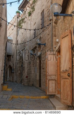 Narrow streets of old Jaffa. Israel